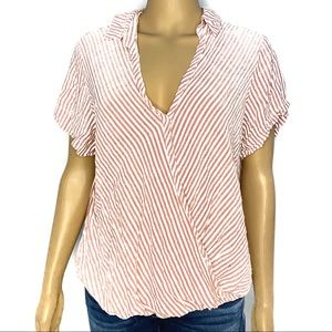 Universal thread stripe blouse red and white